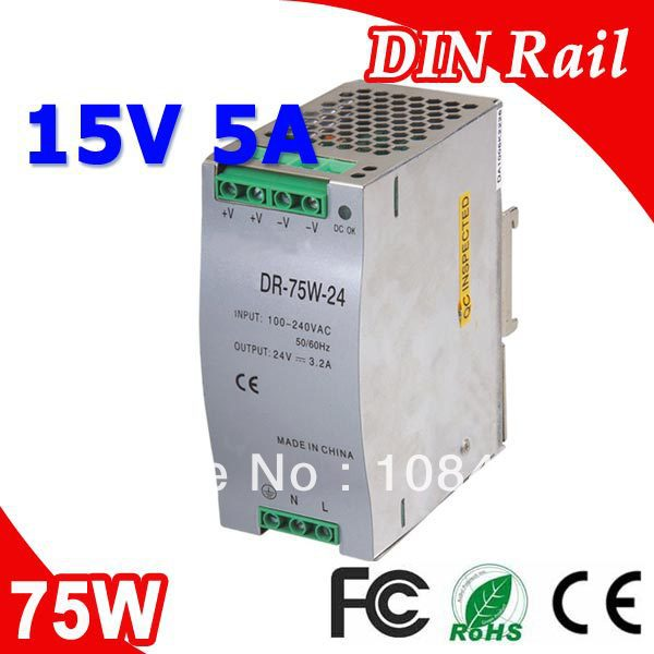 DR-75-15 LED Single Output Din Rail Power Suply Transformer DC 15V 5A Output SMPS<br>
