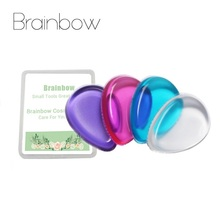 Brainbow 1pc Silicone Sponge Makeup 4 Color Blender Blending Cosmetic Puff Flawless Powder Smooth Puff Jelly Soft Sponge+Box(China)