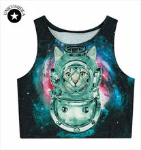 2017 Summer Womens Crop Tops 3d Animal Tiger Lion Galaxy Weed Flower Skull Sexy Women Tank Top Cropped Fitness Boby T Shirt(China)