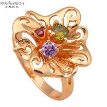 Welcome to Buy fashion Jewelry Nickel & Lead Free Color Crystal Zircon gold tone Rings size #5.5 #6.5 #7 #7.5 #8 JR1897(China)