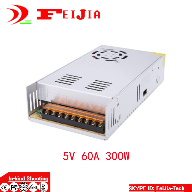 DC 5V 60A 300W Switching Power Supply Transformer for LED Strip Light Display 110V 220V AC to DC 5V<br>