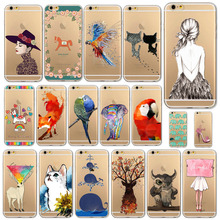 Phone cover for Apple iPhone 6 6s 4.7inch Love Crown Cartoon Girls Painted Soft Sillicon Transparent TPU Mobile Phone Bags case