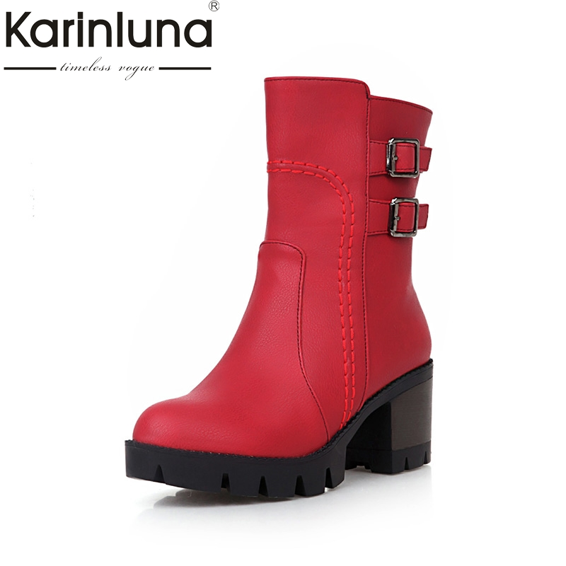 KARINLUNA 2017 Plus Size 33-43 Add Fur Winter mid-calf Boots Fashion Platform Square Heels Rivets Women Shoes Woman Black Red<br>