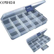 COMPUDA Outdoor Fishing Box 15 Slots Adjustable Plastic Fishing Lure Hook Tackle Box Storage Case Light weight Caja de pesca