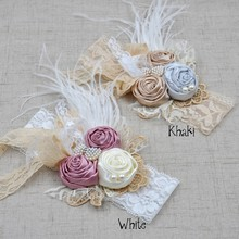 Vintage Inspired Headband Satin Rosette Hair Band  Baby Flower Girl Hair Accessory  2Colors