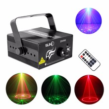 AUCD Remote Mini 24 Red Green Gobos Laser Effect Projector 3W Blue LED Light Wedding DJ Party Show Club Stage Lighting L24RG(China)