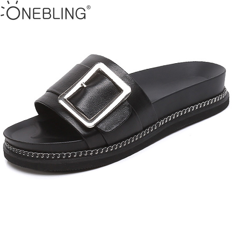 Genuine Leather Women Beach Slippers 2017 Summer Fashion Buckle Metal Decoration Outdoor Casual Flat Shoes Platform Flip Flops(China (Mainland))