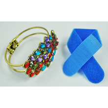 SODIAL(R) Multi Vintage Colorful Crystal Peacock Bracelet Bangle +Free Cable Tie(China)