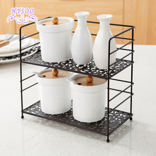 Wrought iron double shelf spice rack kitchen countertops Floor seasoning condiment shelf storage rack HYSOO