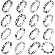 High Quality 17 Styles Punk Men's Stainless Steel Bracelet Silver Link Black Rubber Chain Cuff Bangle Cycling Wristband