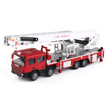 NEW Diecast Truck Model 1:50 Red Aerial Ladder Rescue Truck Fire Vehicle By KDW Home Decoration Unique Gift Craft