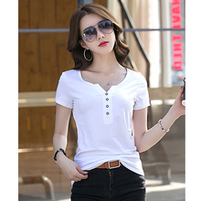 Buy T Shirt femme 2018 Summer Cotton T-Shirts Button V-Neck Short Sleeve Womens Clothing Female T-Shirt Women 4xl Plus Size Clothes for $14.39 in AliExpress store