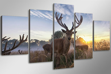 5Piece Frameless Wall Art Animal Deer Painting Canvas Movie Prints Poster Paintings Christmas Picture For Living Room Home Decor(China)