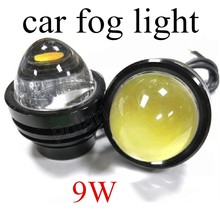 best price one pair 12V 9W Hawkeye COB Fog Lights Led Car Headlight Lamp Universal for cars Daytime Driving Lamp Super Bright