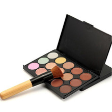 Professional 15 Colors Foundation Corrector Concealer Palette Round Face Contour Kit with BB Cream Brush Makeup Sets 100sets/lot