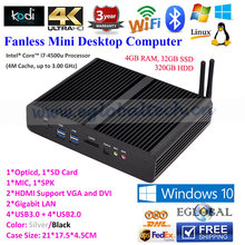Eglobal Fanless Mini PC Computer HTPC with Intel Core i7 4500u 4GB RAM 1600MHz 32GB SSD 320GB HDD 300M WiFi 2HDMI 2LAN SD Card