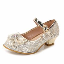 Rhinestone Glitter Girls Princess Single Sandals Heels Party Wedding Glass  Slipper Shoes(China) a412fe856ef8