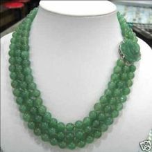 Charming 3 Rows Green  stone Bead Necklace jade clasp Fashion Jewelry New
