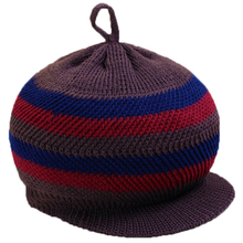 Women's Hat Stripe Pattern Knitted Hat Warm Peaked Cap Winter Outdoor Hat for Old Lady(China)