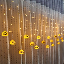 SXZM 3.5M or 5M led curtain light AC220V Halloween decoration Pumpkin/Skull/Spider/Eye Fairy light for Party,Bakcdrops,patio