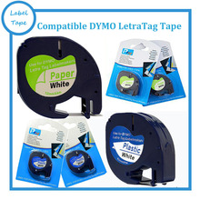 2PK DYMO LetraTag 12mm LT 91200 91201 one paper white and one plastic white compatible DYMO LetraTag Labeller
