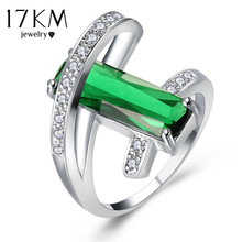 17KM Design Hollow Crystal Rings For Wedding Women Green Red Ring Anillos Fashion Engagement Jewelry Romantic Party(China)