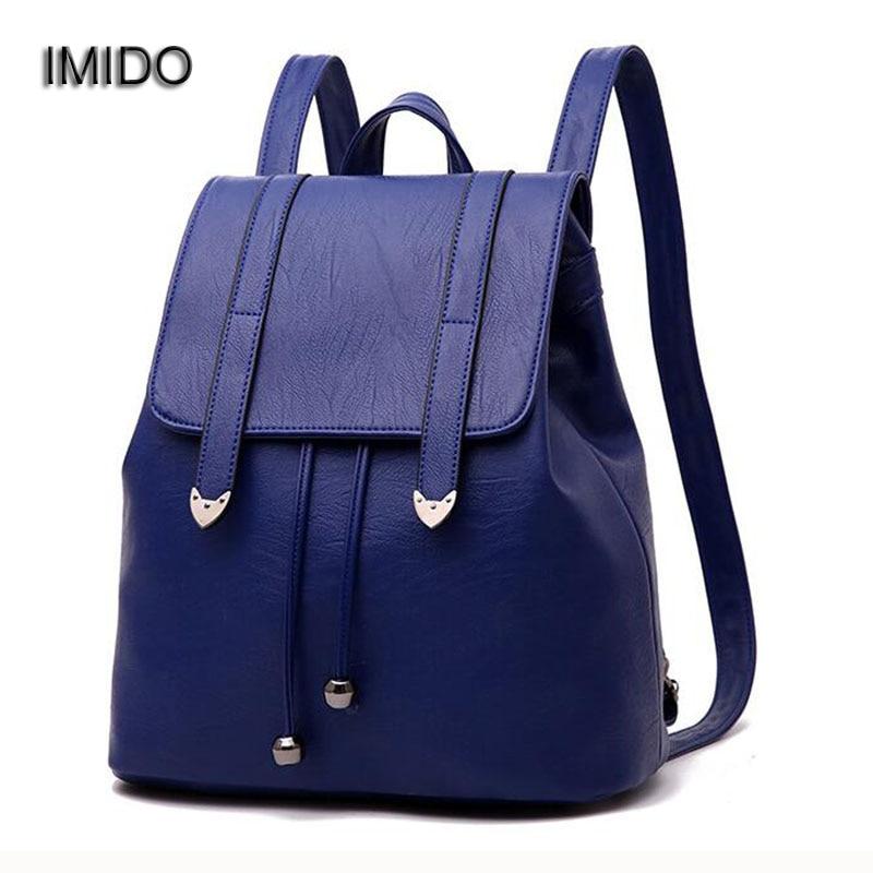 IMIDO Hot 2017 New Brand leather backpacks women shoulder bags travel female backpack black blue Red mochila feminina sac SLD018<br>