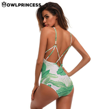 Buy Owlprincess Sexy Leaf Printed Swimwear Women One Piece Swimsuit Hollow Bathing Suit Swimwear Beach Deep V Backless Monokini for $12.41 in AliExpress store