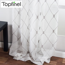 Topfinel Geometric Pattern Design Embroidered White Sheer Curtains Voile Tulle Window Curtains for Kitchen Living Room Bedroom(China)