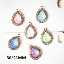Buy Wholesale 30pcs/lot Rhinestone/Crystal Decoration Alloy gold Tone Water droplets Shape Charms Diy Necklace Jewelry Pendants for $15.83 in AliExpress store