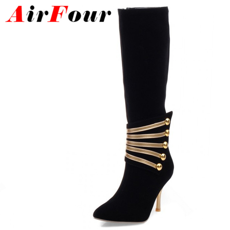 ENMAYLA Pointed Toe Thin Heels Knee High Boots Big Size 45 Women Boots New Fashion Winter High Boots Shoes Warm Long Snow<br>