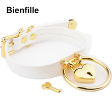 Designed Sexy Unique Choker Silver Gold Metal Padlock Heart Lock Hanging O Round Sub Fetish Collar BDSM White PU Leather Collars(China)