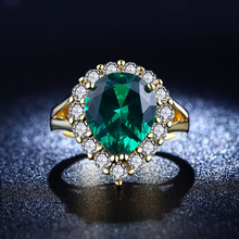 Charming Gold Plated Ring Vintage Emerald Jewelry Green Elegant Oval Ring For Women Luxury CZ Diamond Wedding Engagement SHR201