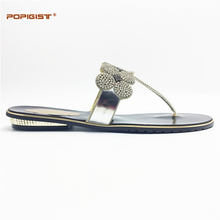Africa Italian design shoes without matching bag Silver Nigeria slippers antiskid shoe not with bag many colors selection 2017(China)