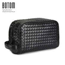 Botom Luxury Designer Woven Man Bag Exquisite Day Clutch High Quality Male Handle Bag Premium Faux Leather Men's Clutch Handbag(China)
