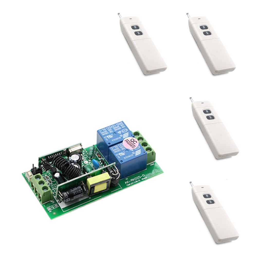 Wide Voltage 85V -250V 2CH Wireless Remote Control Switch System 4pcs Transmitters and Receiver for Appliances Gate Garage Door <br>