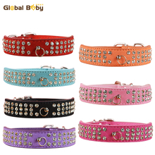 New Fashion 7 Colors 4 Sizes Suede Soft 3 Rows Rhinestone Dog Collar Puppy Pet Supplier Products Necklace(China)