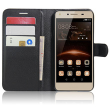 SZYHOME Phone Cases For Huawei Y5 II / Y6 Elite Business Retro Leather Wallet Flip Cover Case Solid Color Shell Capa Coque(China)