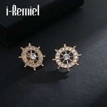 2017 Korean Version Of The Sea Wind Rudder Brooches Male Corsage Shirt Small Collar Flower Thorns Buckle Deduction Pin Jewelry