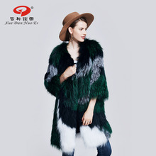 2017 new arrival real fox fur women knitted long coat natural silver fox fur jacket genuine leather clothes fashion green color(China)