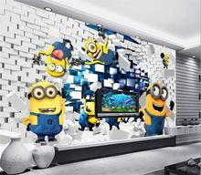 3D Wallpaper Custom Room Murals Non-Woven Wall Sticker Animation Despicable Me Minions Photo B Kids' Room Wallpaper For Walls 3D