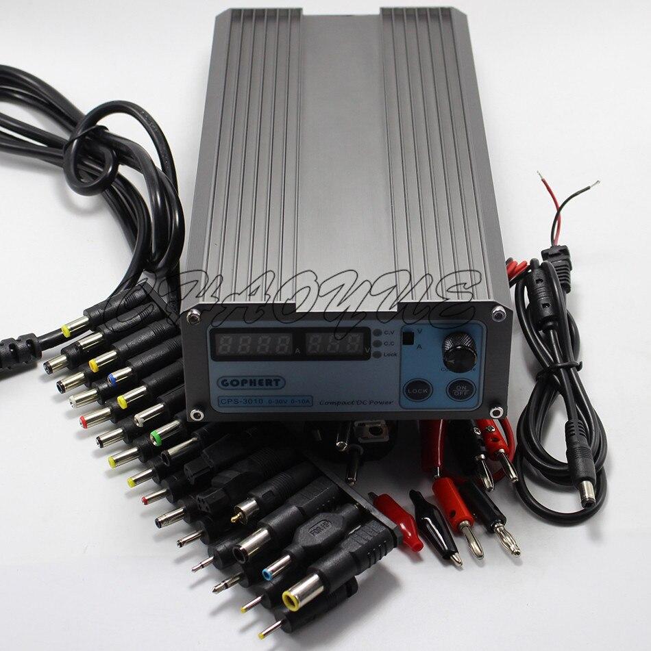Mini cps-3010 DC Power Supply + 37pcs DC head Banana clip wire EU UK US adapter OVP/OCP/OTP low power 110V - 230V 0-30v 0-10A<br><br>Aliexpress
