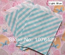 50 Pcs/2 Pack Light Blue Diagonal Striped Treat Craft Bags Favor Food Paper Bags Party Wedding Birthday Decoration Color 9