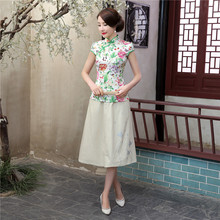 Shanghai Story New Sale fashion cheongsam top traditional Chinese Top Faux Silk Flower Print blouse top + Linen Skirt