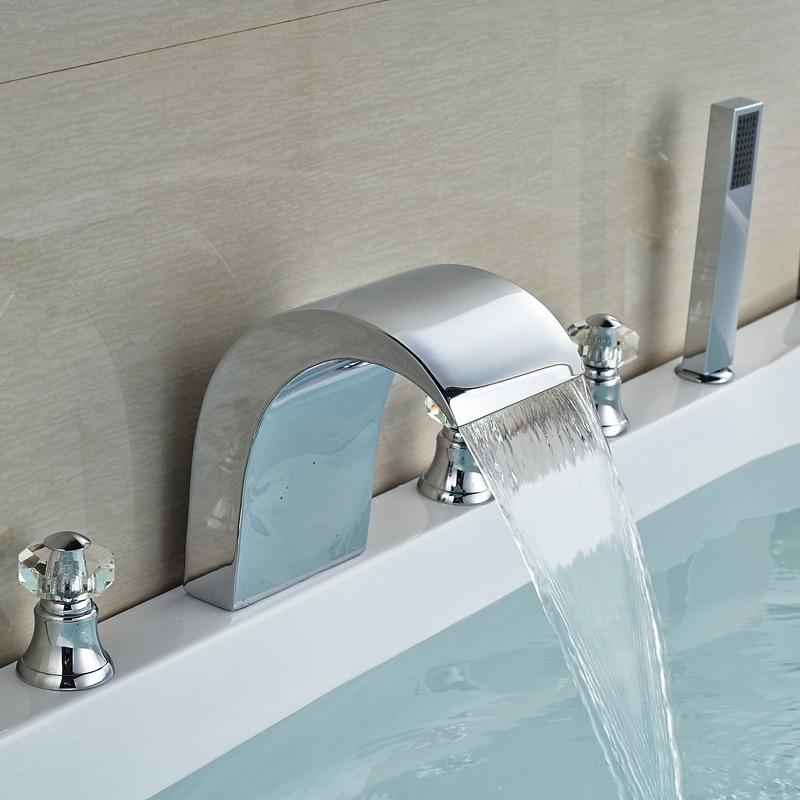 Three Cristal Handle 5pcs Widespread Bathtub Faucet Deck Mount Chrome Mixer Tap With Handheld Shower<br><br>Aliexpress