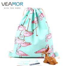 VEAMOR Bag for Girls School Shoes Fashion Flamingos Shoes Bags Canvas Travel Shoulders Backpack Drawstring Storage Bags WB329(China)