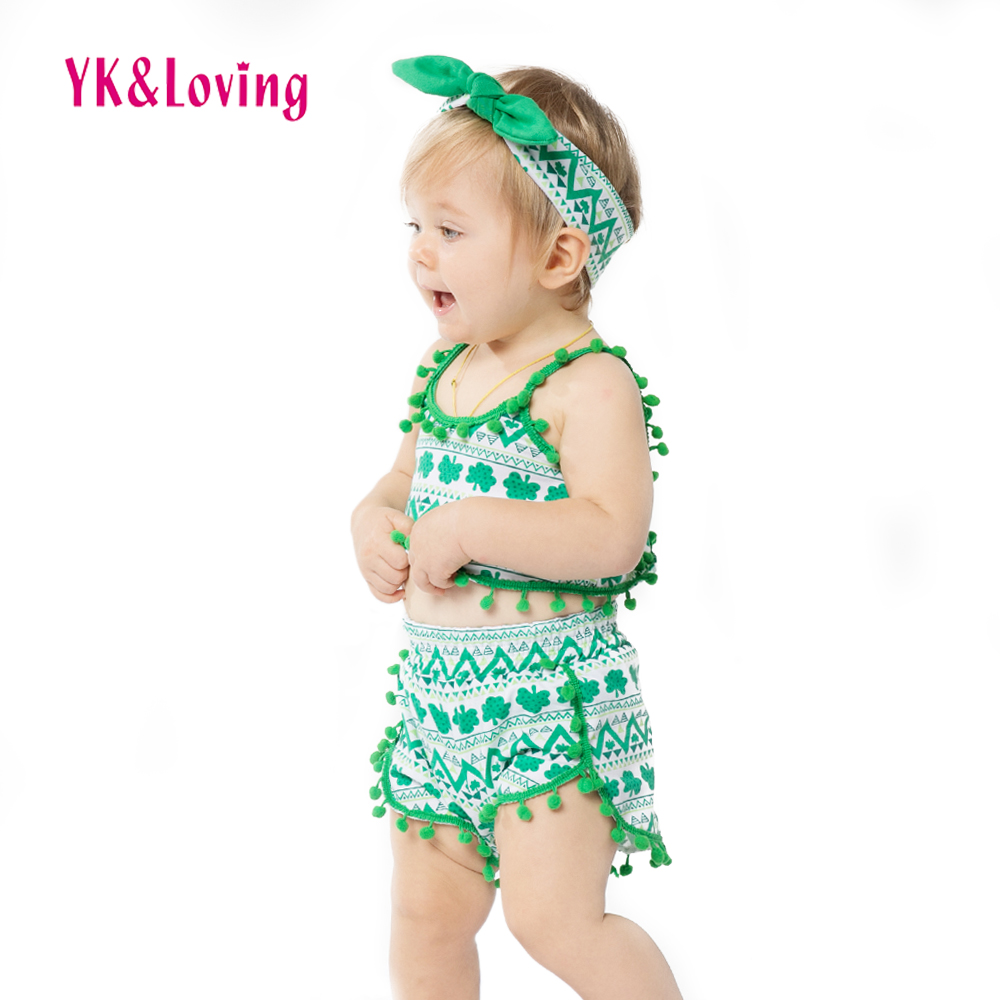 Green Beach Wear Clothing for Baby Girls 2017 New Summer Boutique St. Patrick Day Gifts Girl Clothes Sets with Swing Top+ Shorts<br><br>Aliexpress