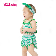 Green Beach Wear Clothing for Baby Girls 2017 New Summer Boutique St. Patrick Day Gifts Girl Clothes Sets with Swing Top+ Shorts(China)
