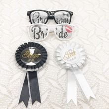 Wedding Party Decoration Bride and Groom Sunglasses and Badge for Wedding Party Receptions Pictures Photo Booth Party Favor(China)