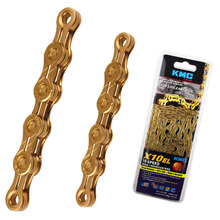 Original X10EL-Ti KMC 10 Speed Chain for Trekking 116 Links Extra Light Titanium Nitride Gold Coated 10S KMC Chain + Magic Link(China)